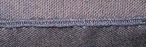 Close-up of finished seam.