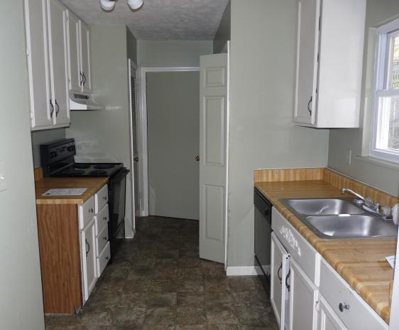 The dark, cramped, rotting, disgusting kitchen (with flooring sandwich).