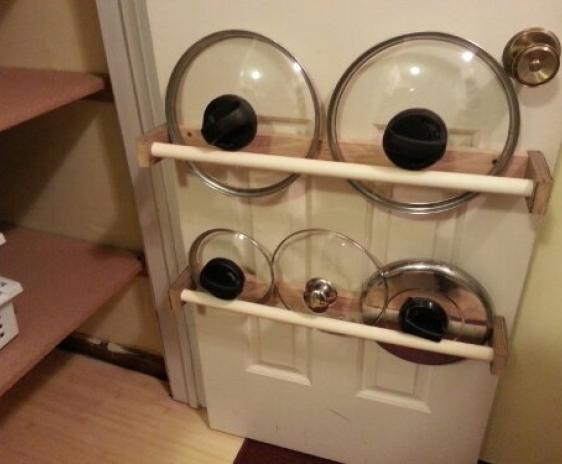 Finished pot lid rack.